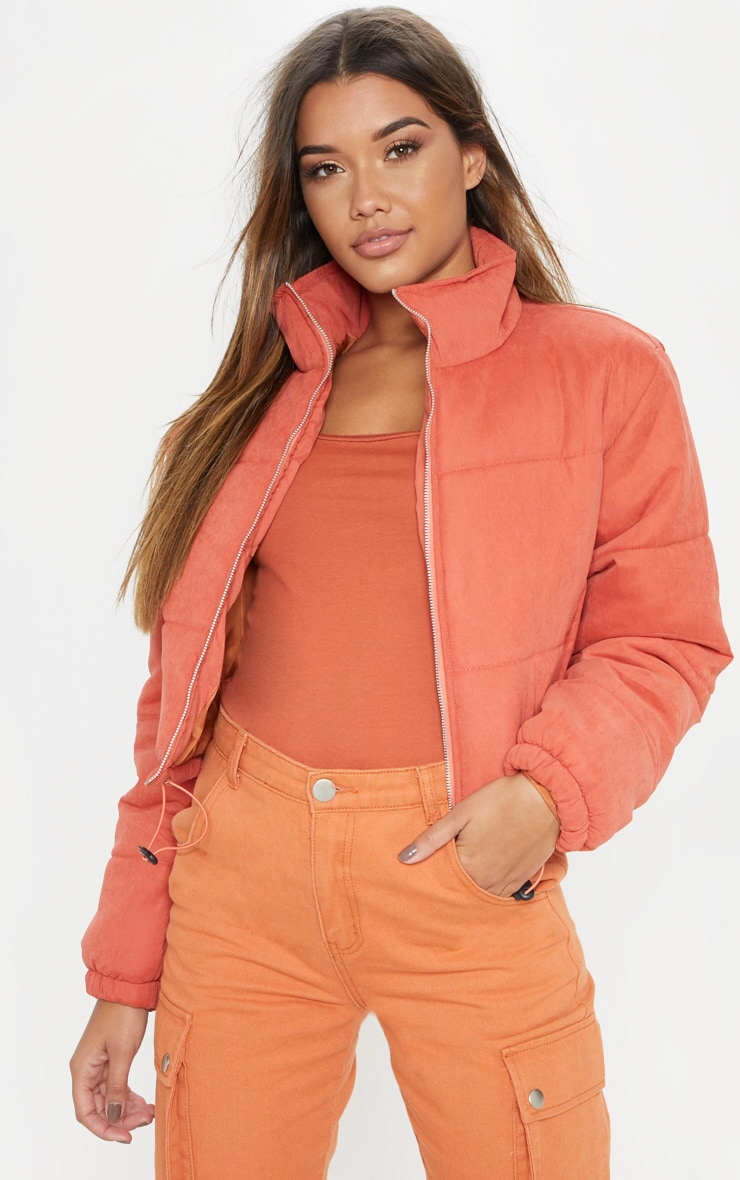 Rust Super Cropped Peach Skin Puffer  1