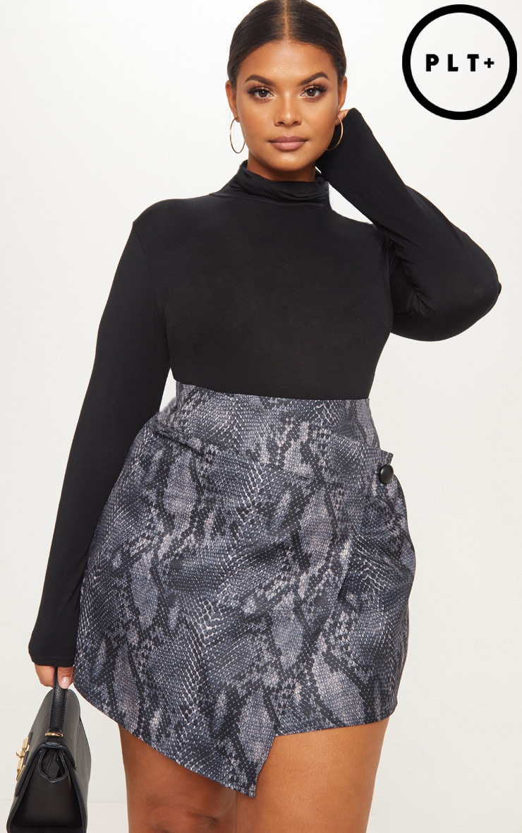 Plus Grey Snake Print Button Detail Wrap Mini Skirt 1