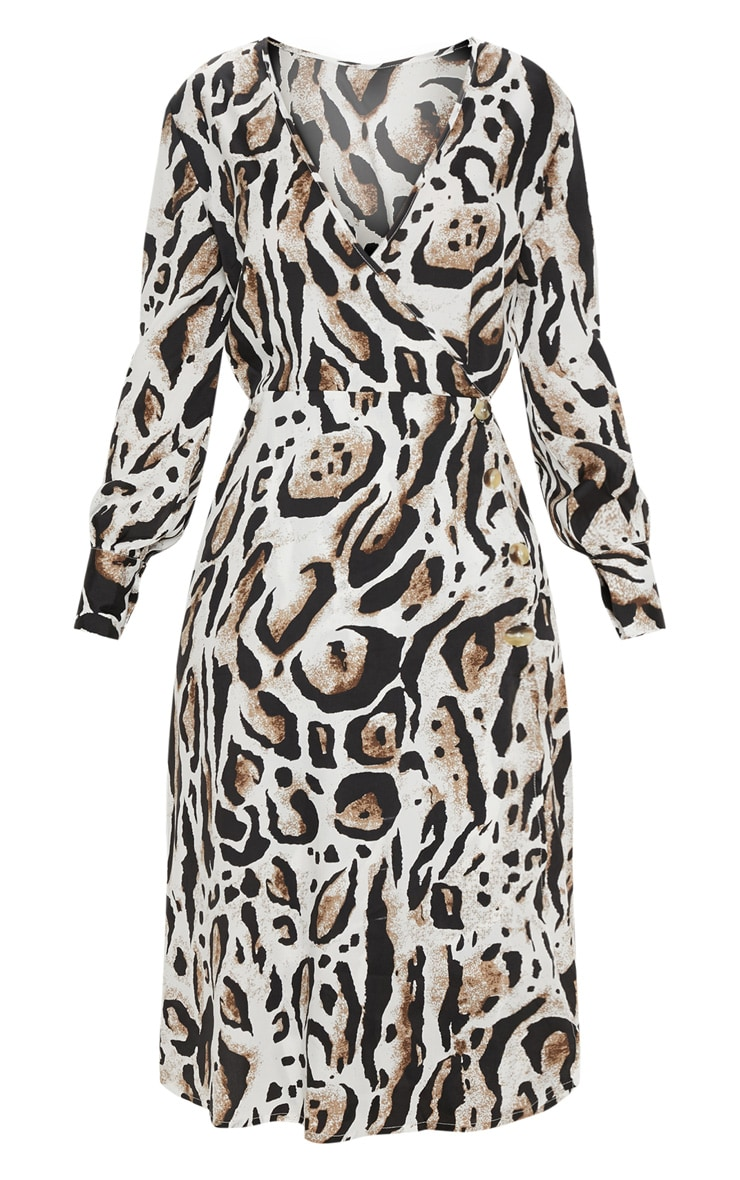 Beige Leopard Print Wrap Frill Midi Tea Dress 3