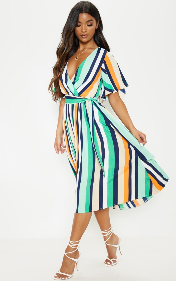 White Stripe Print Pleat Midi Dress 1