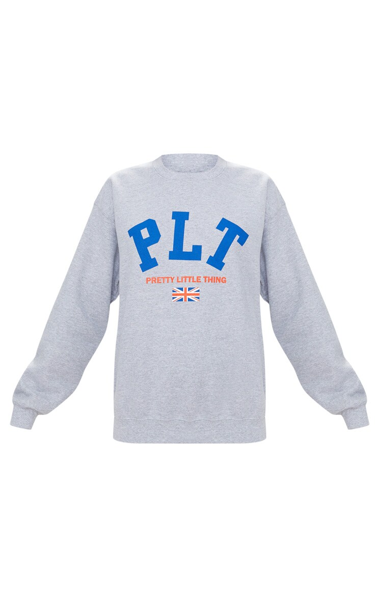 PRETTYLITTLETHING Grey Union Jack Sweater  3