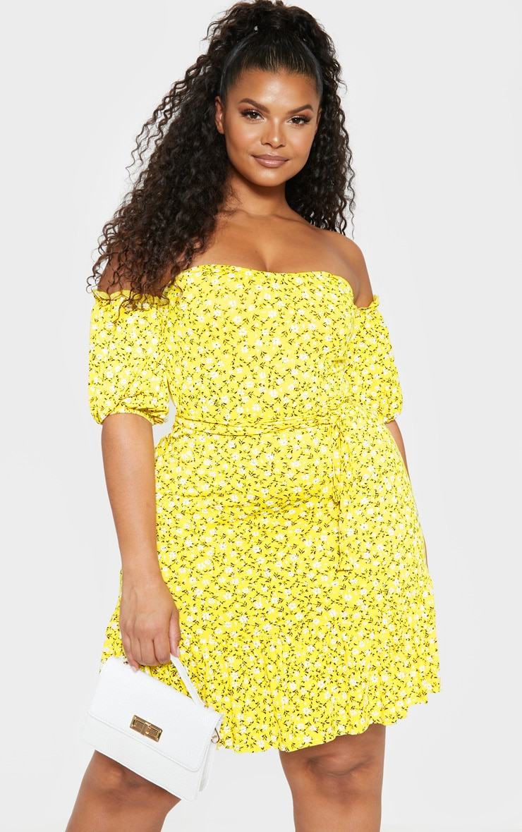 Plus Yellow Ditsy Print Bardot Frill Hem Skater Dress 1