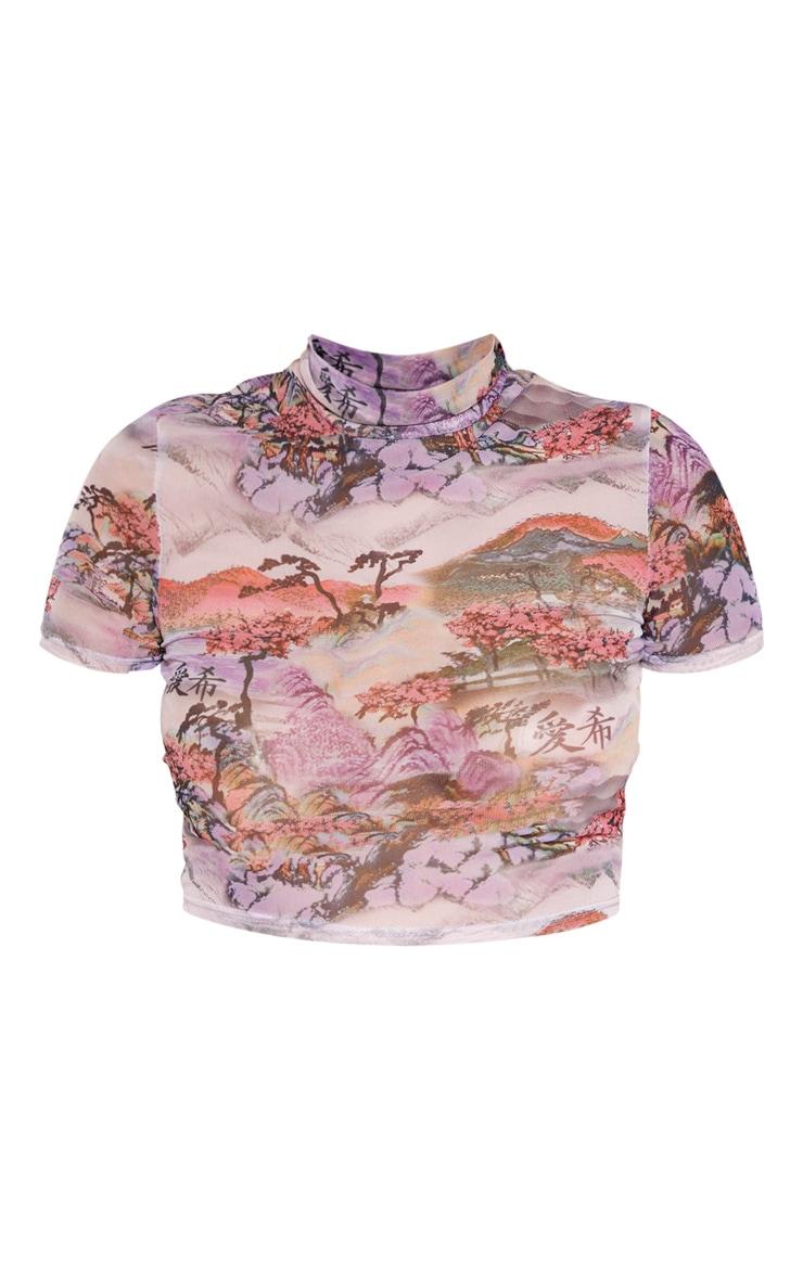 Lilac Oriental Mesh Printed Crop Top 4