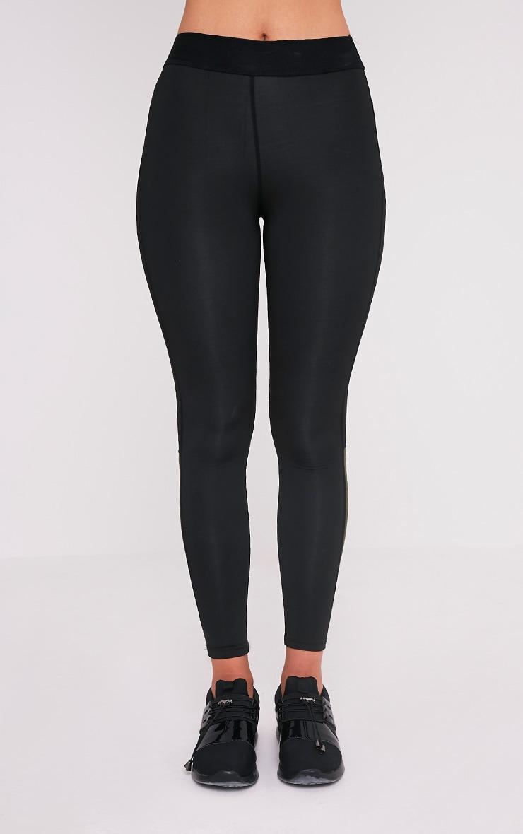 Alexis Khaki Panelled Gym Leggings 2