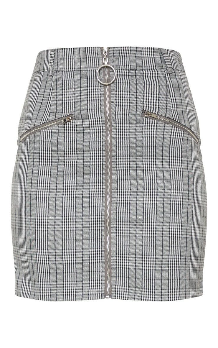 Monochrome Zip Front Check Mini Skirt 3