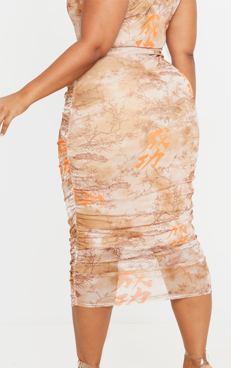 Plus Nude Rennaisance Print Sleeveless Midi Dress 5