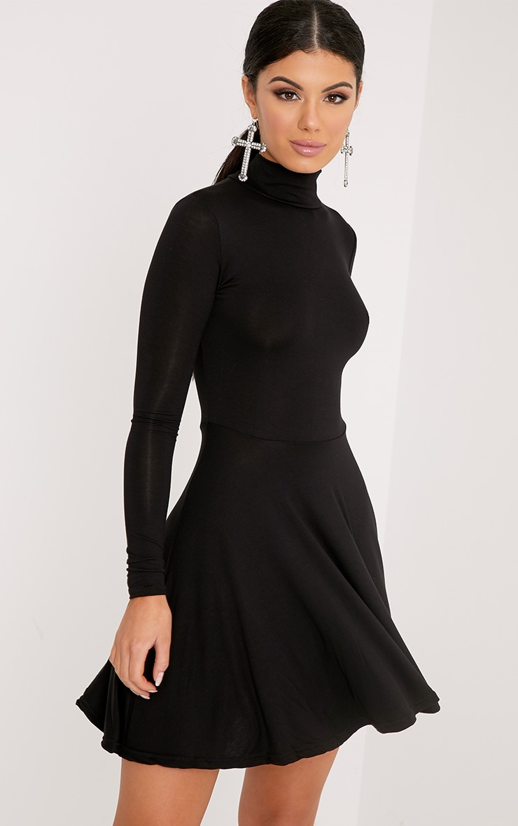 Black High Neck Jersey Skater Dress 1