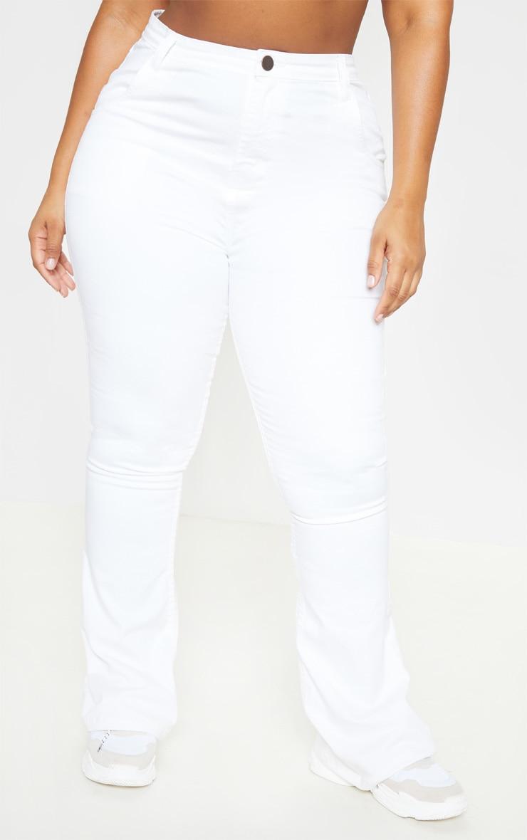 Plus White Stretch Denim Flared Jean  2