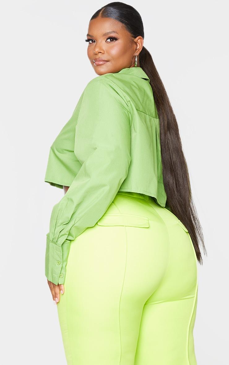 Plus Bright Green Cotton Oversized Crop Shirt 2