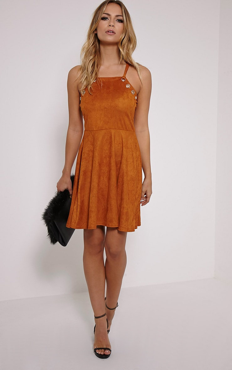 Issa Tan Eyelet Faux Suede Skater Dress 3