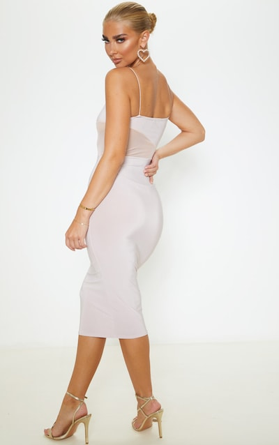 Nude Slinky Mesh Insert Strappy Midi Dress