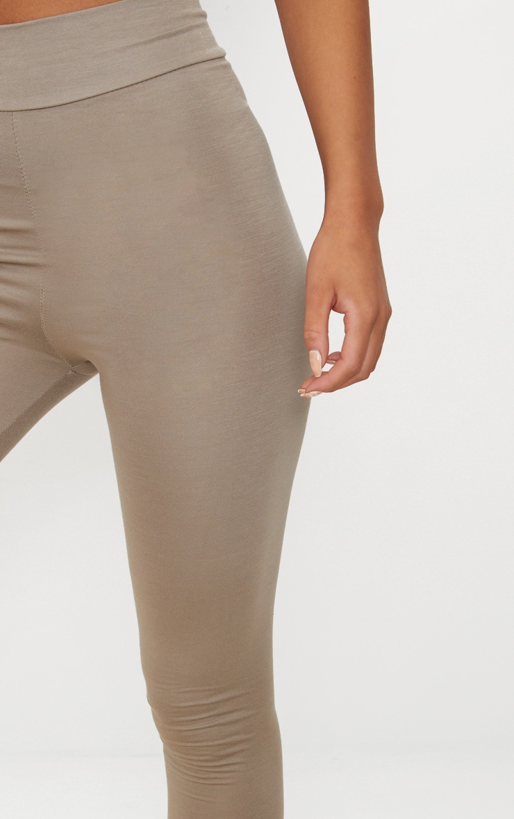 Basic Taupe High Waisted Jersey Leggings 5