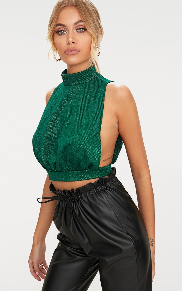 Emerald Green High Neck Open Back Crop Top  1