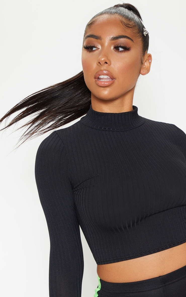Petite Black High Neck Ribbed Long Sleeve Crop Top 5