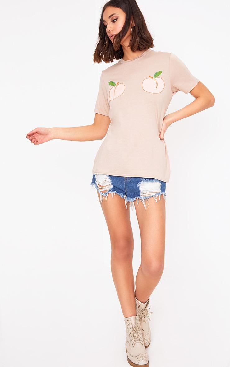 Nude Peach Print T Shirt  4