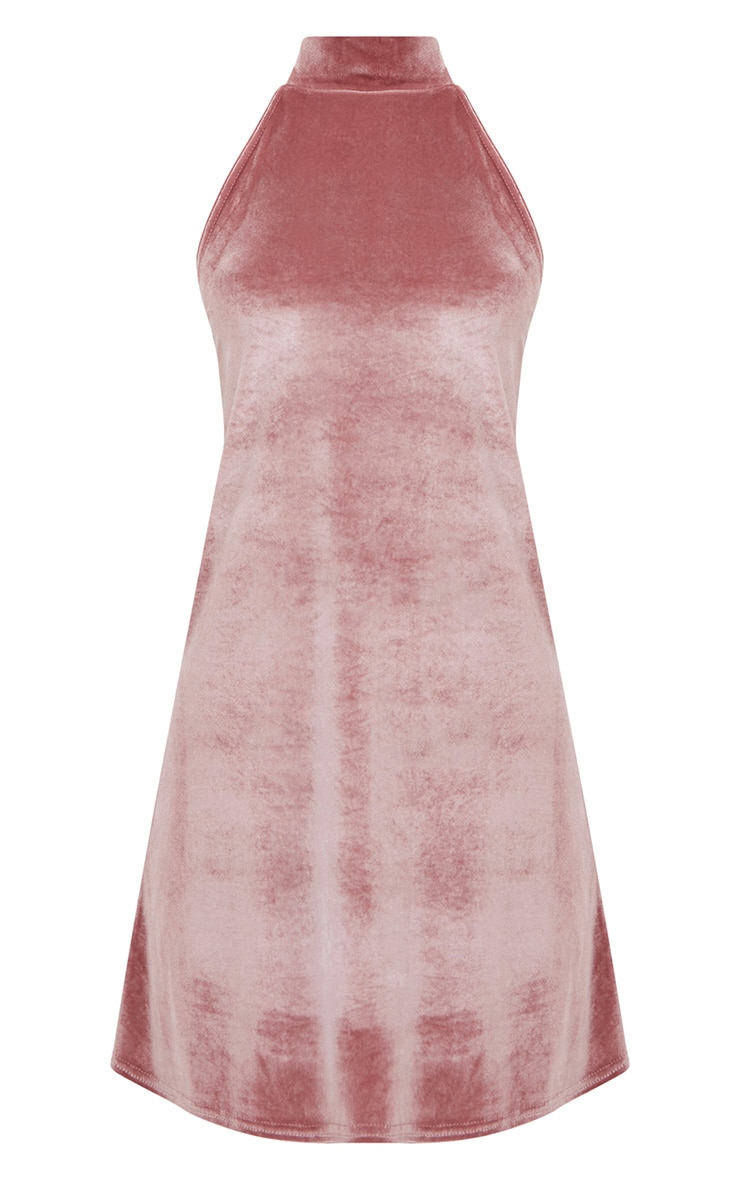 Rose Velvet High Neck Swing Dress 3