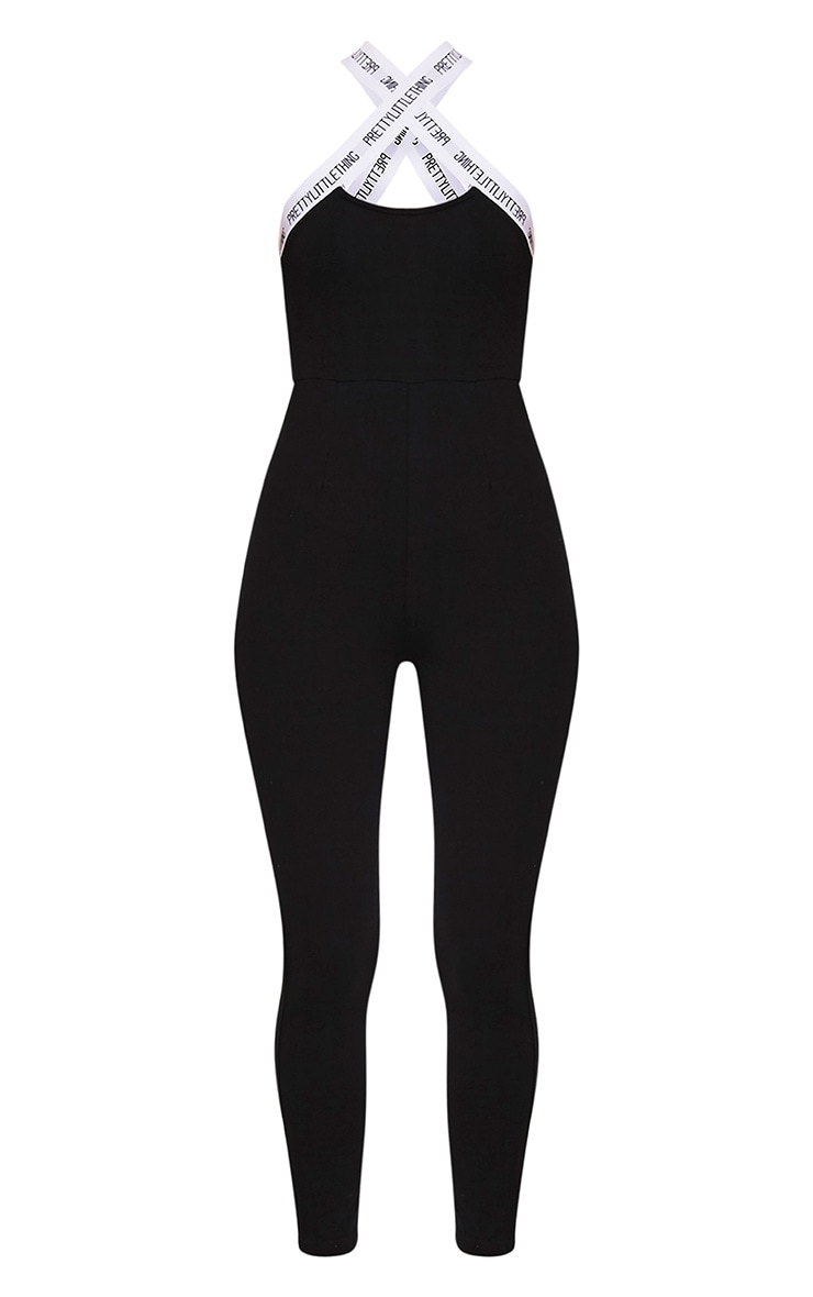 PRETTYLITTLETHING Black Strap Cross Front Jumpsuit 3
