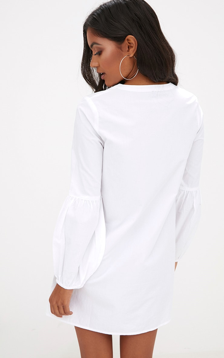 White Embroidered Long Sleeve Shirt Dress  2