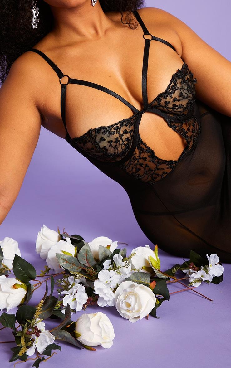 Plus Black Harness Strap Underwired Heart Lace Slip Dress 4