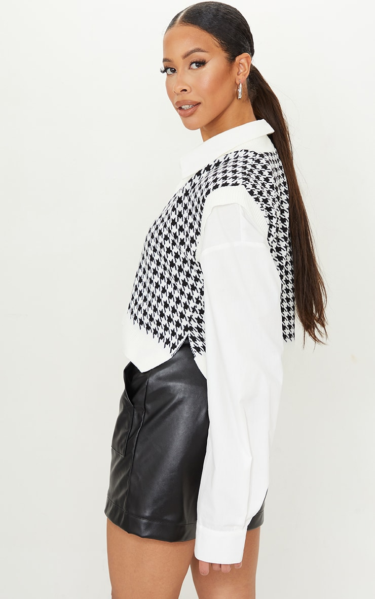 Tall Monochrome Crop V Neck Knitted Vest 2