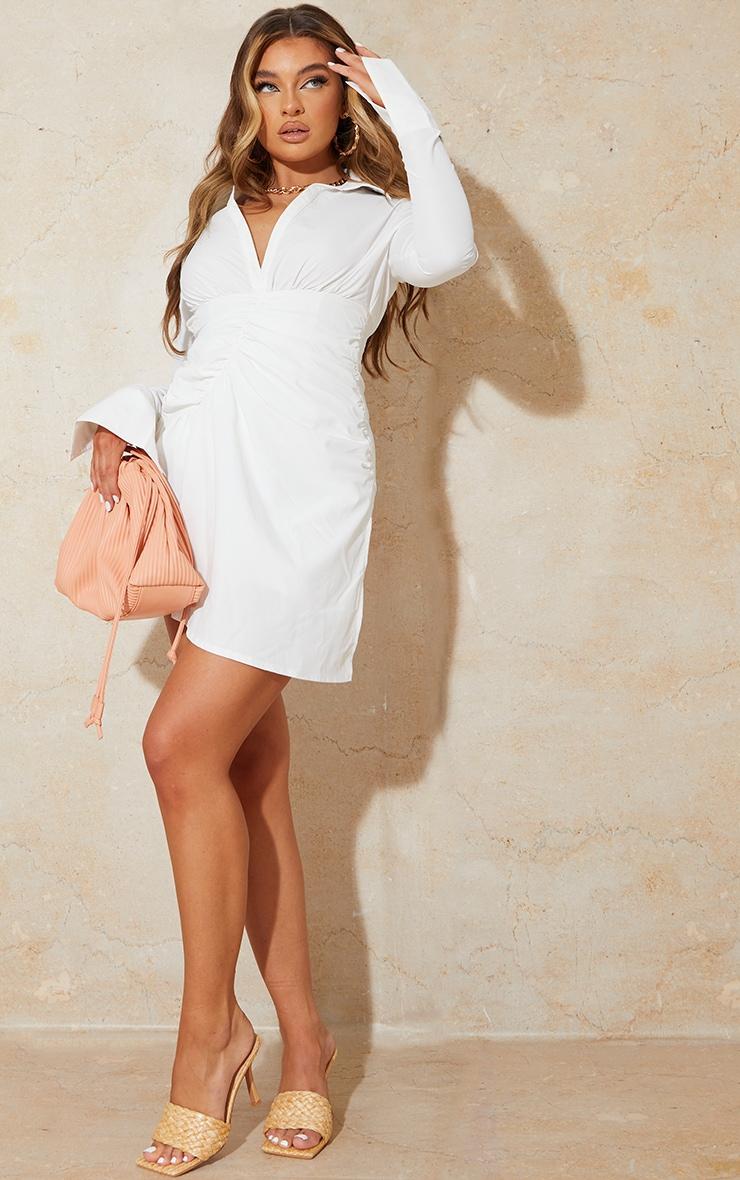 White Oversized Cuff Gathered Skirt Shirt Dress 3