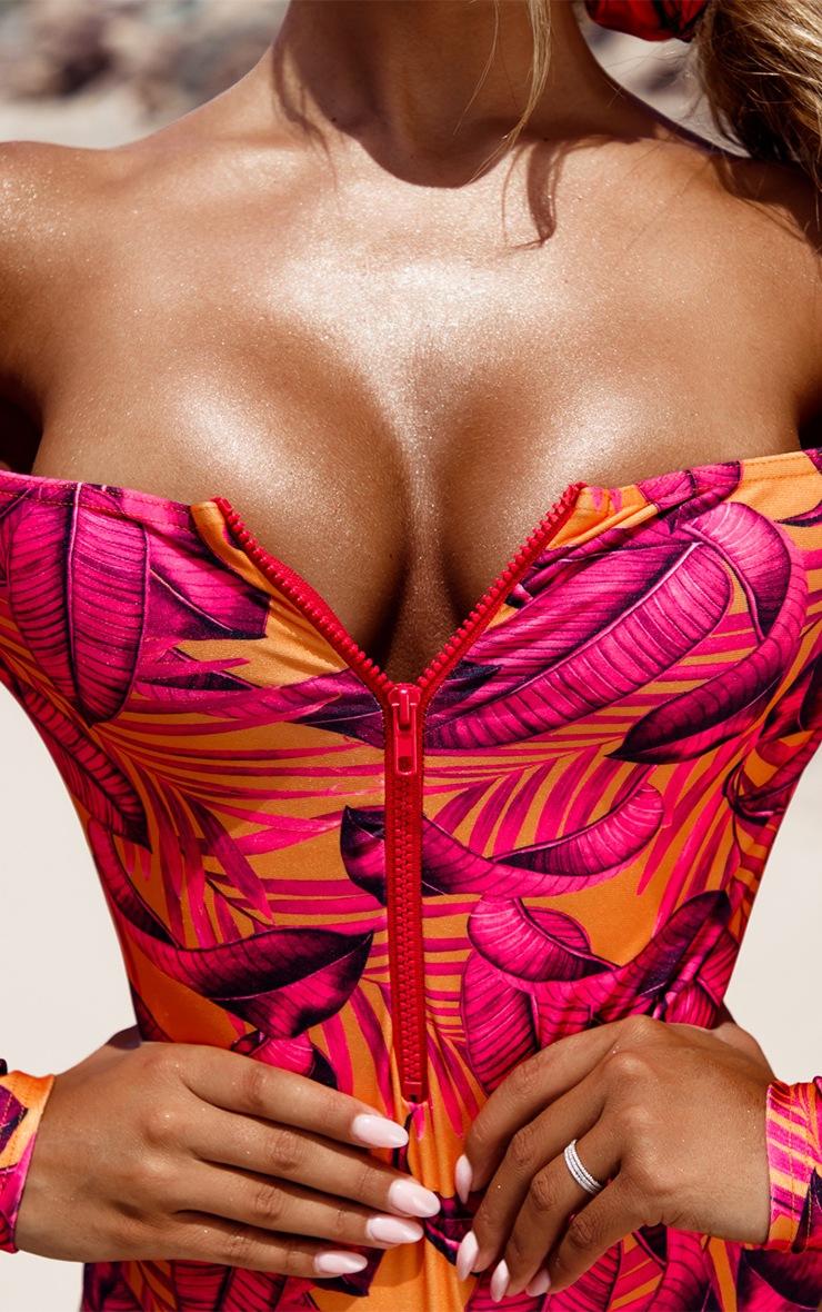 Orange Palm Leaf Long Sleeve Zip Up Swimsuit 6