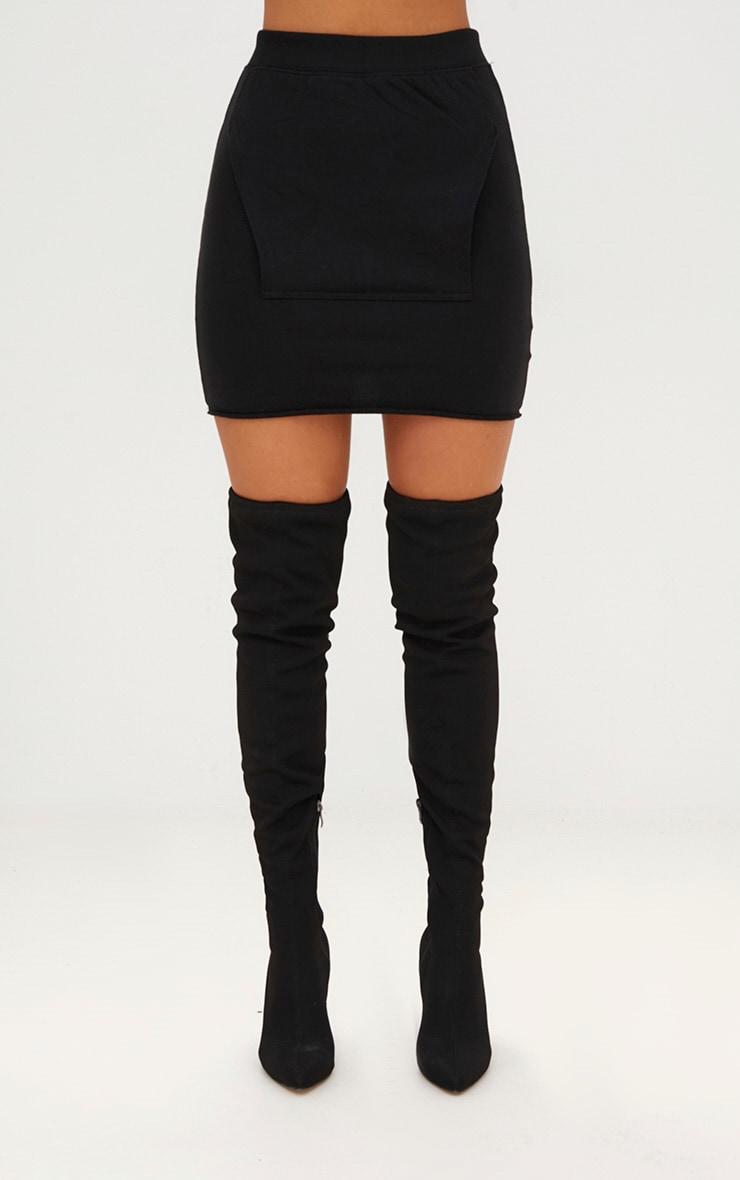 Black Sweat Pocket Mini Skirt 2