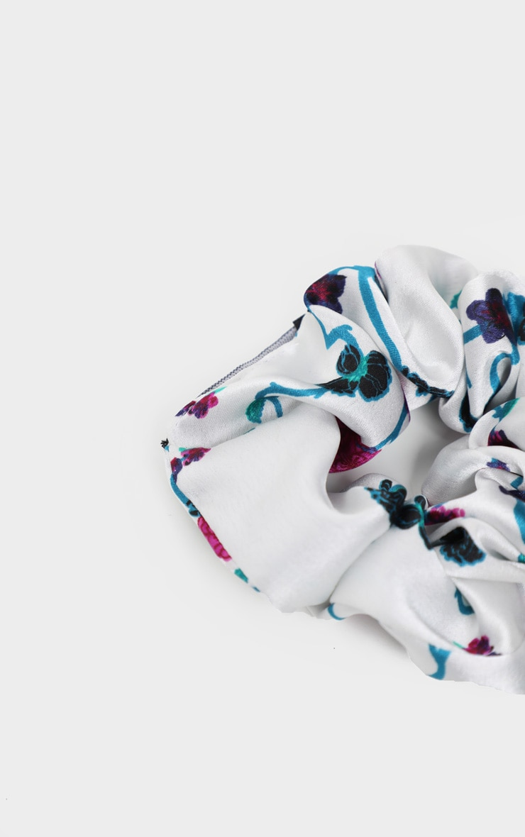 White Floral Satin Scrunchie  3