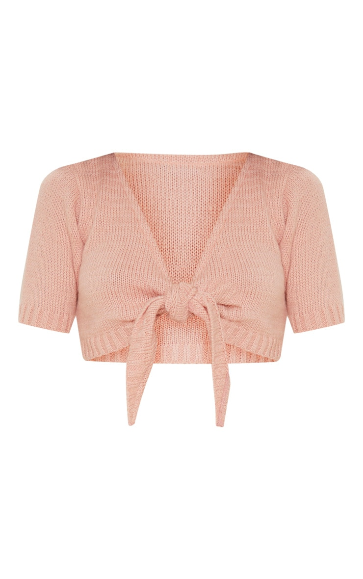 Blush Tie Front Knitted Crop Top 3