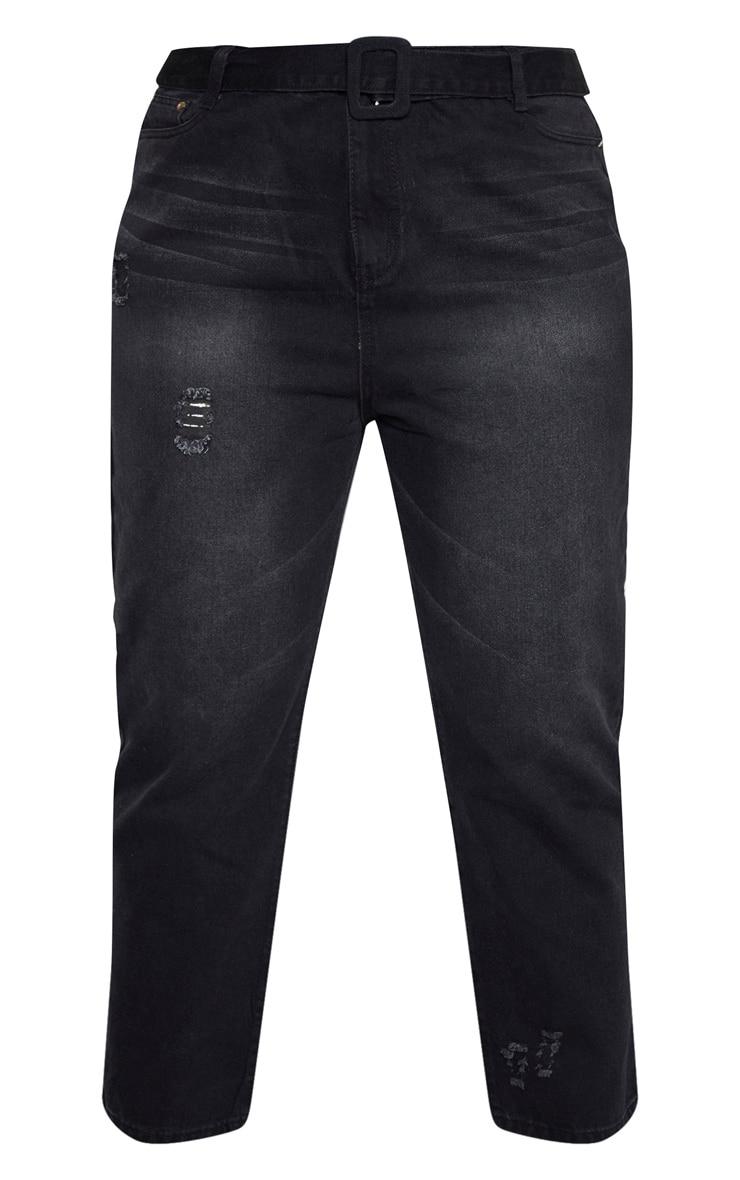 Plus Black Belt Detail Distressed Straight Leg Jean 3