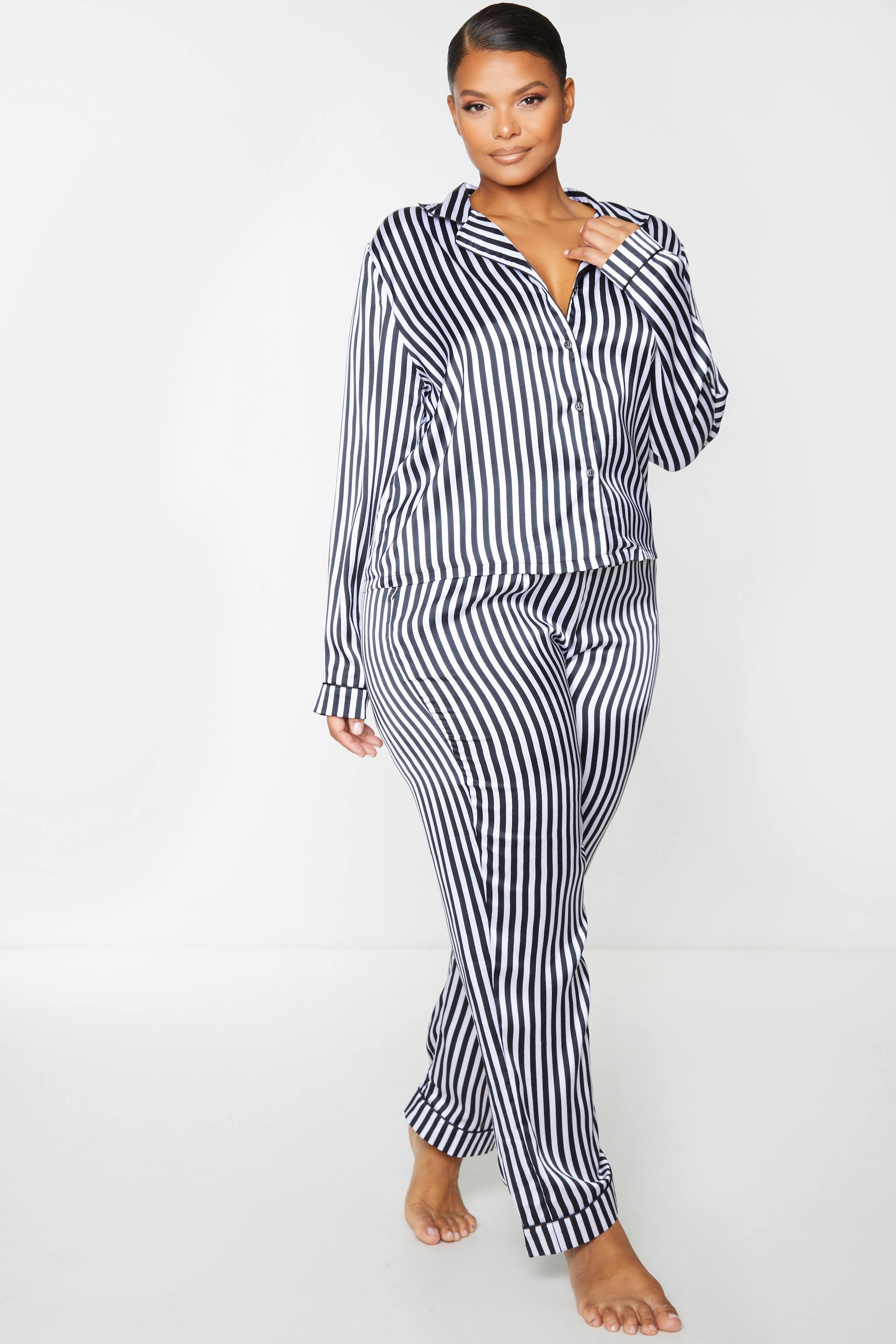 Plus Black Long Striped Satin PJ Set 3
