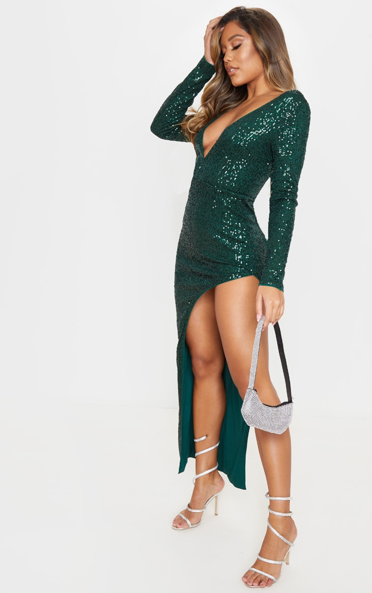 Emerald Green Sequin Long Sleeve Plunge Maxi Dress 4