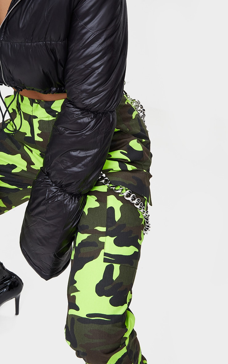 Lime Camo Print Cargo Trousers 5