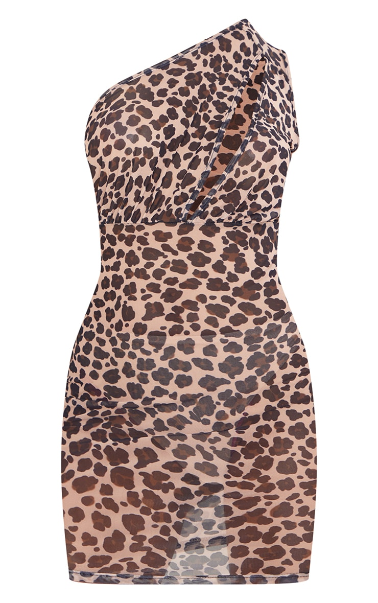 Tall Brown Leopard Mesh One Shoulder Cut Out Bodycon Dress 5