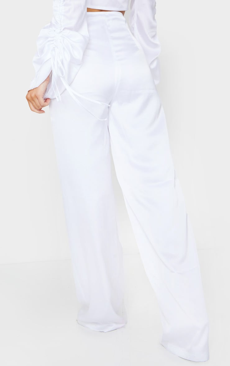 White Satin Wide Leg Pants 3