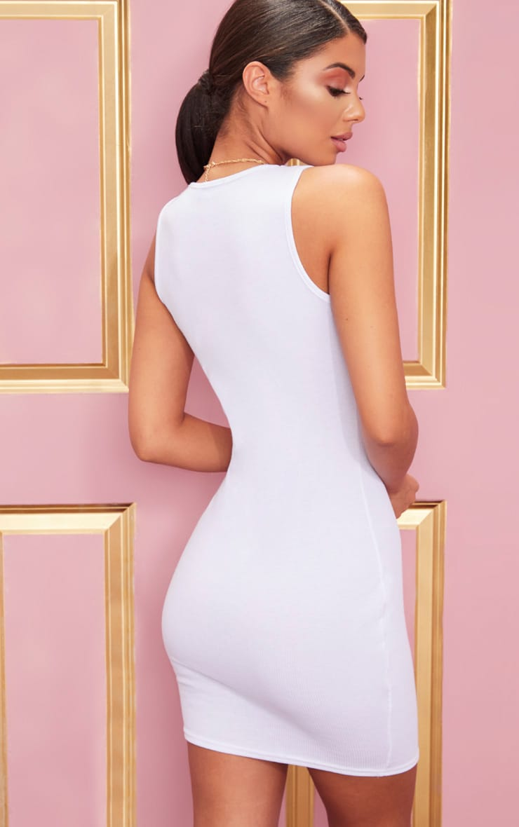 White Ribbed Scoop Neck Bodycon Dress 2