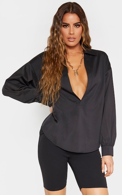 Tall Black V Plunge Blouse