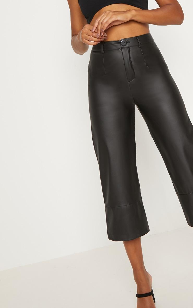 Black Faux Leather Culotte 5