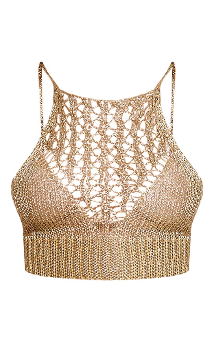 Constance Gold Racer Front Metallic Knitted Crop Top 3