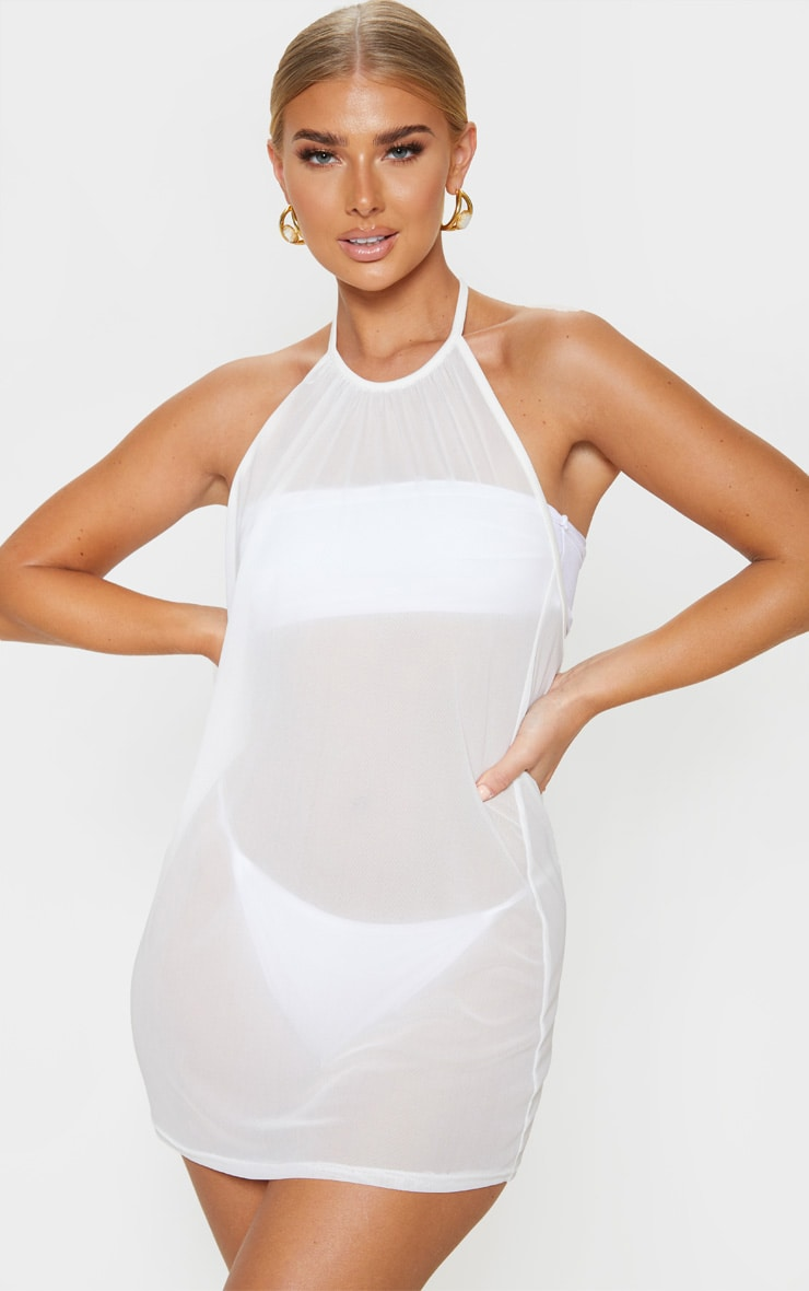 White Basic Mesh Beach Dress 1