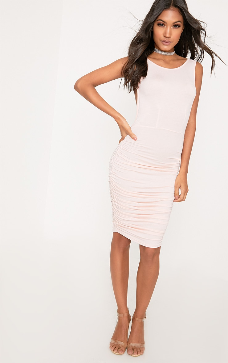 Nude Open Back Ruched Midi Dress 4
