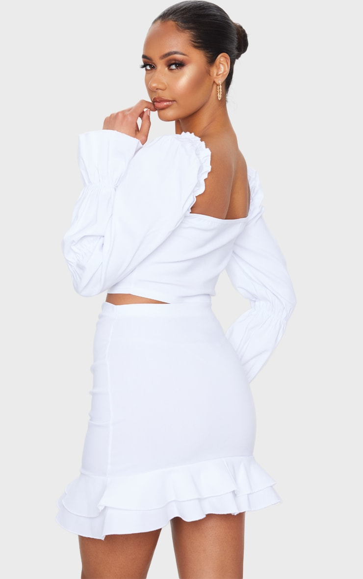 White Woven Stretch Frill Ruched Front Long Sleeve Crop Top 2