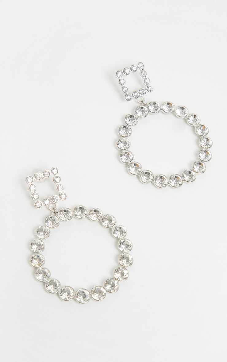 Silver Diamante Circle And Square Drop Hoops 2