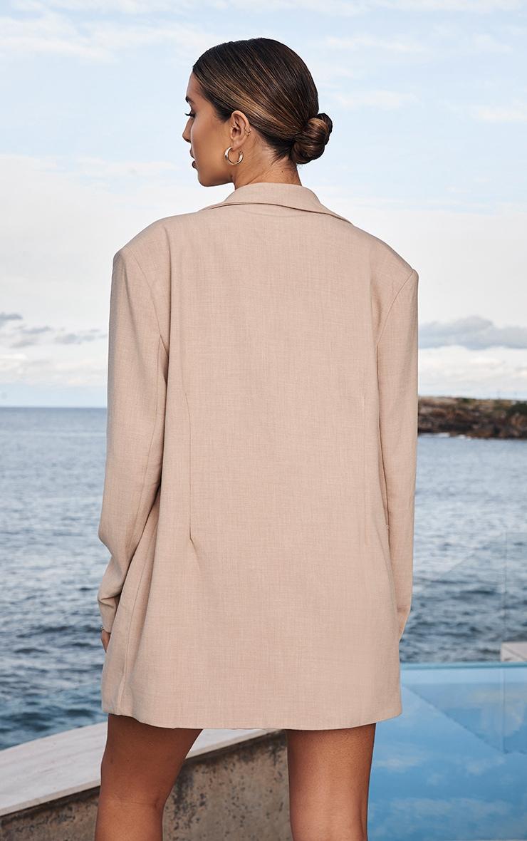 Stone Premium Woven Shoulder Padded Grandad Blazer 2