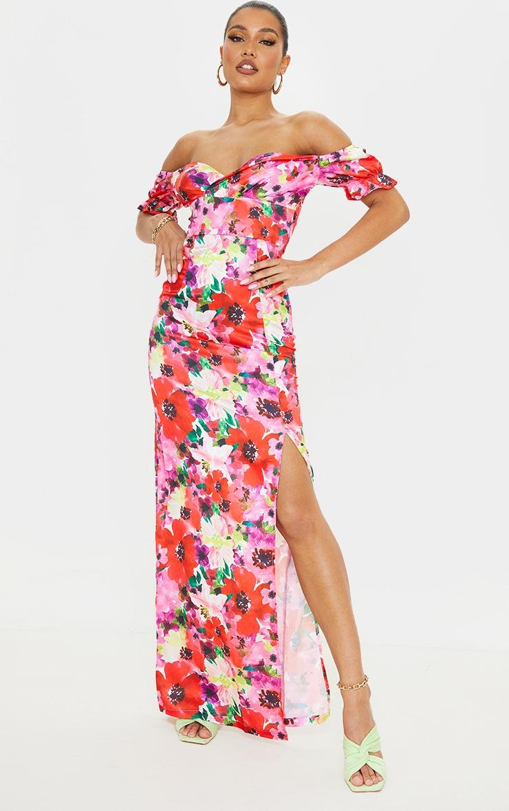 Multi Floral Satin Wrap Bardot Maxi Dress 1