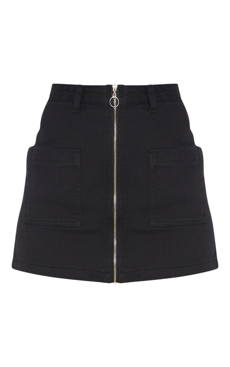 Black Front Zip Denim  Skirt 3