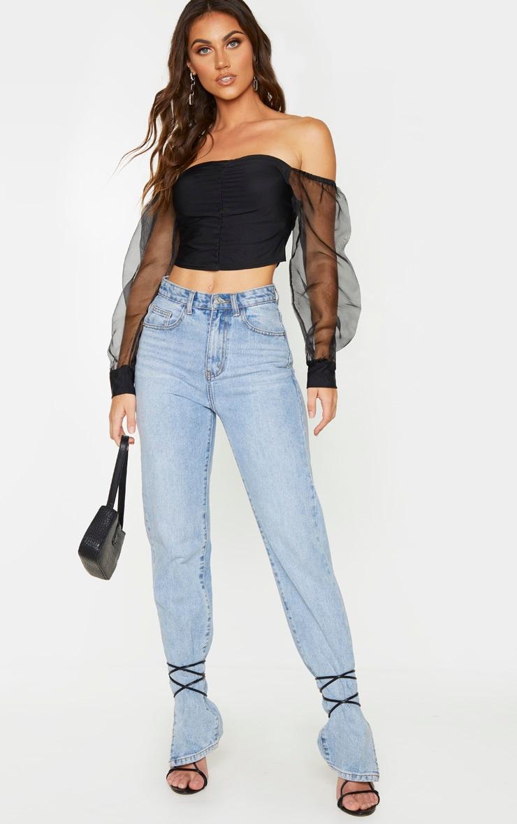 Black Slinky Sheer Organza Puff Sleeve Bardot Crop Top 3