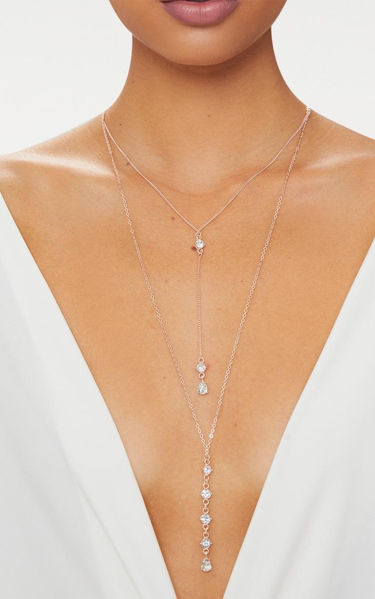 Rose Gold Drop Diamante Necklace