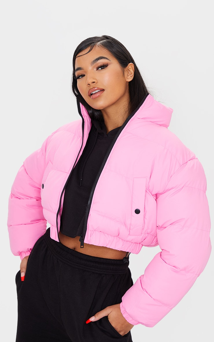 Pink Cropped Bubble Zip Detail Puffer Jacket 1