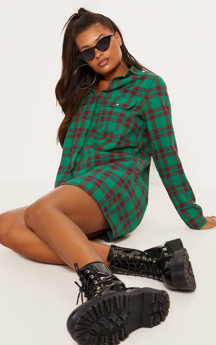 Green Oversized Check Shirt Dress 4